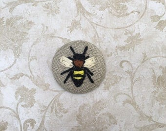 Bee Button, Embroidered Pinback Button, Bug Pin, Handmade Button
