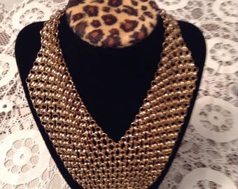 Goldtoned Chain Bib Style Necklace