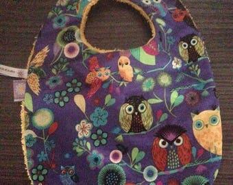 0/6 month OWL fabric baby bib