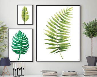 Set of 3 Botanical Leaf Prints - Tropical Print Home Decor Botanical Wall Print Plant Leaf Print Botanical Leaves Prints Home Green Room