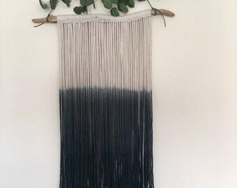 Dip dye ombré macrame yarn wall hanging monochrome