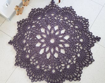 Ready to ship 140 cm Chunky Recycling Bronze Doily Rug with Picots, Carpet Cotton Rug, Shabby Chic bohemian hippie folk country floor decor