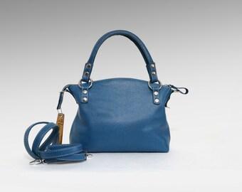 Leather bag soft leather handbag blue Italian cow leather crossbody women's handbag simply shoulder bag small leather purse minimalist bag
