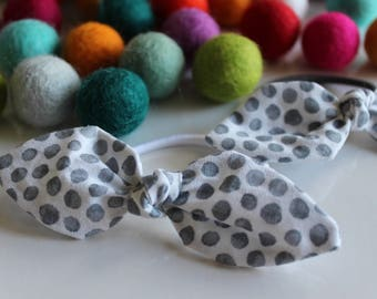 White & Gray Polka Dot Knot Hair Tie