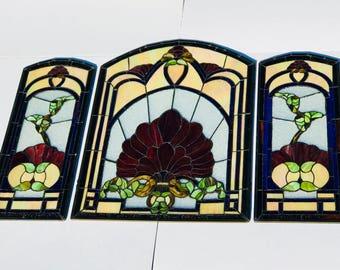 Stain Glass Window, Circa Mid-Century, Vintage Stain glass, Leaded Glass Window, Stain Glass Panels,