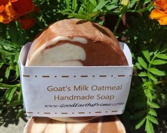Goat's Milk Oatmeal and Honey Handmade Soap round bar
