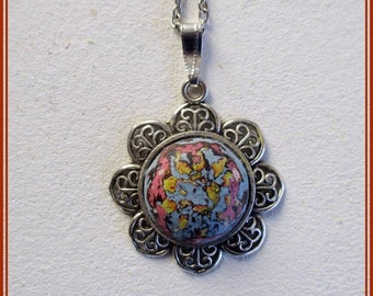 Art nouveau jewelry, hand painted art nouveau pendant, gift for girl, handcraft necklace, handmade jewelry, bridesmaid chain pendant, gifts.