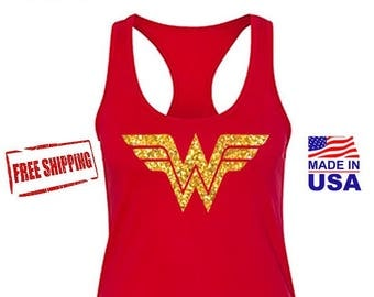 Wonder Woman, Wonder Woman Tank Top, Wonder Woman Movie Marathon with Gold Glitter Emblem. Costume, Womans Tank. Free Shipping