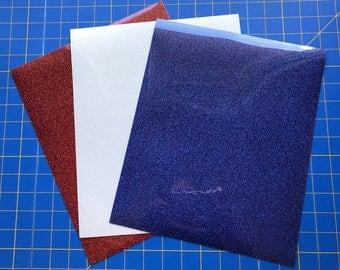 """Siser Glitter Heat Transfer Iron On Vinyl 3 12""""x 10"""" Sheets, Red, White, Blue"""