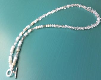 AA NY Herkimer Diamond Beaded Necklace with Moss Aquamarine Rondels