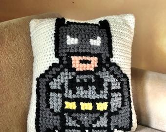 Crocheted Batman Pillow, Superhero Pillow, Batman Accent Pillow