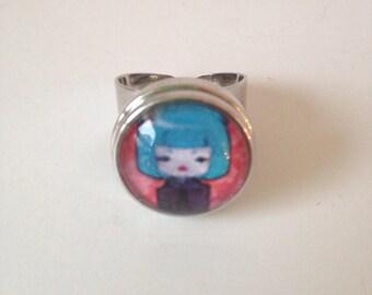 Adjustable ring, snap, Kokeshi Skull cabochon