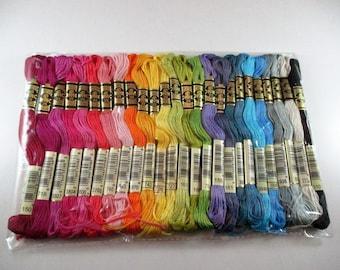 25 cotton has embroidery skeins, multicolored, DMC Mouliné.
