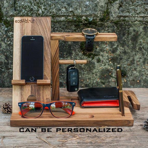 Desk Organizer Man Gifts For Station Mens Wooden Dock Custom