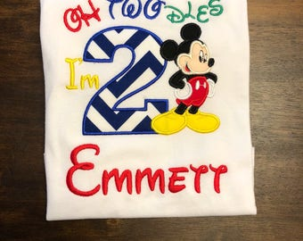 Mickey Mouse 2nd Second Birthday Shirt // Mickey Mouse Shirt // Oh Twodles I'm 2 // Monogrammed Birthday Shirt // Mickey Mouse Shirt for Boy