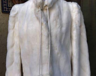 Vintage Grandella II By Sportstowne White Bolero Style Mink Faux Fur Jacket Sz 8