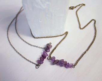Antique Bronze Amethyst Bar Necklace
