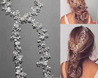 Bridal Hairpiece, Bridal Long Hair Comb,Long Bridal Hair Vine, Bridal Long Tiara, Ulyana Aster Style, Rhinestone Tiara, Rhinestone Headband