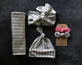 Gender neutral grey stripe swaddle set