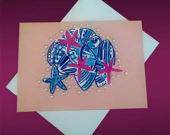 BEACH THEMED CARDS/Nautical Cards in handmade/Seashell Note Cards/Stationary/Sea Shell Cards/