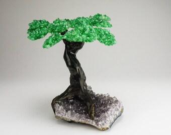 Large Green Quartz Gemtree on Amethyst Matrix