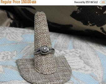 ON SALE stunning vintage sterling silver and  1/10 caret tw diamond ring size 10