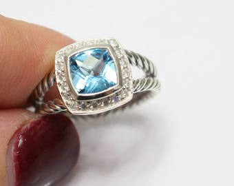 Used David Yurman  Albion Ring with BLUE TOPAZ and DIAMONDS Size 7