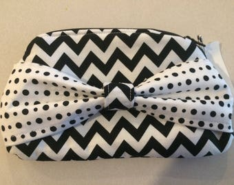 Black and White Bow Clutch