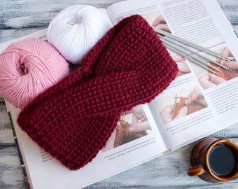 100% WOOL.Black/Red Hand Knit Headband. Knit Turband. Accessory Headband. Women Headband. Girls Winter Headband. Knitted EarWarmer.