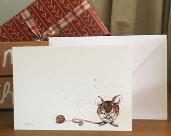 A5 Watercolour Christmas Mouse Card