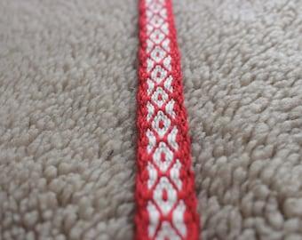 Red tablet woven trim, viking belt, viking clothing dress band, medieval weave, card weaving ribbon, slavic sash, baltic textile, larp strap