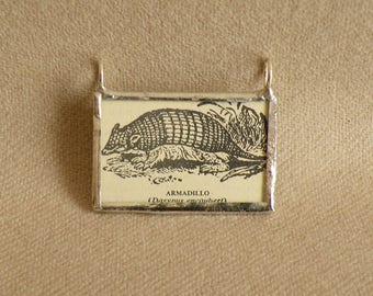 Armadillo - Handmade Soldered Glass Pendant with B&W Vintage Dictionary Illustration