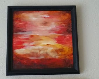 """Original Mixed media  Painting on canvas, 12""""x 12"""" inches, Title: ABLAZE series 3"""