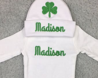 Personalized newborn outfit, preemie outfit - St Patrick's Day baby shower newborn photography, gift set NICU outfit, Irish baby, st patty's