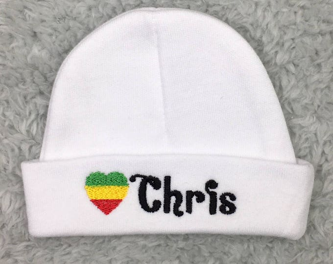 Personalized newborn hat with Rasta flag - micro preemie hat, custom preemie hat, - rastafarian baby hat, baby shower gift, rasta baby gift