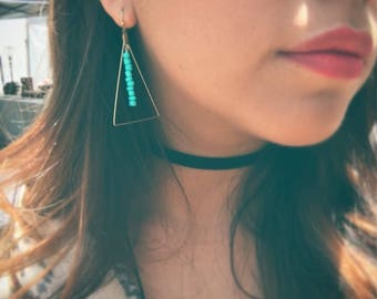 Raw Brass Triangle earrings with Turquoise beads