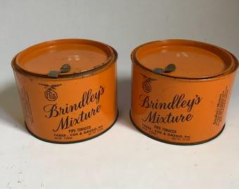 Vintage Brindley's Mixture Pipe Tobacco Tin,  Set of 2 Tins, Orange Tin, Tobacciana, Collectable Tin, Man Cave Decor, Tobacco Can, Vintage