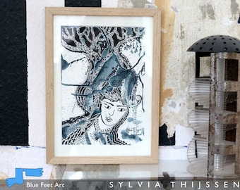 Medusa, art drawing with ink and pen, by Sylvia Thijssen, Dutch artist