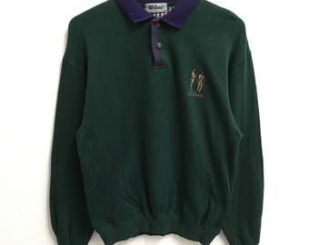 RARE!!! Wilson Golf Small Logo Embroidery Dark Green Colour Polos Sweatshirts Hip Hop Swag M Size