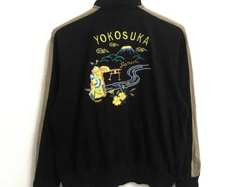 RARE!!! Sukajan Japan Yokosuka Big Logo Embroidery Black Colour Zipper Sweaters Hip Hop Swag L Fit M Size