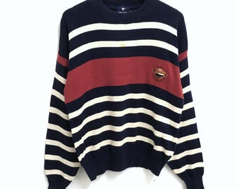 RARE!!! Regatta Sport Small Logo Embroidery Crew Neck Stripes Colour Sweatshirts Hip Hop Swag M Size
