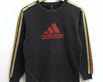 RARE!!! Adidas 3 Stripes Big Logo Crew Neck Dark Grey Colour Sweatshirts Hip Hop Swag S Size
