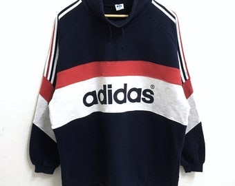 RARE!!! Adidas Trefoil Big Logo 3 Stripes SpellOut Multicolour Sweatshirts Hip Hop Swag XL Size