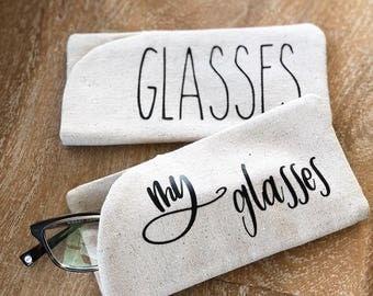 Glasses Case - Canvas Linen Look Eyeglasses Holder - Sunglasses Case - Reading Glasses Holder