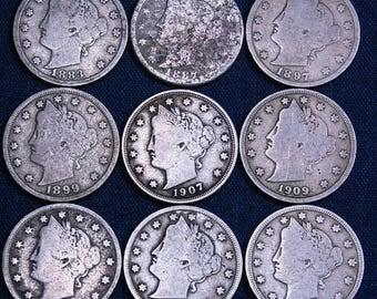 9 Old U.S. Nickels - Liberty Head Nickels Dated 1883-1912