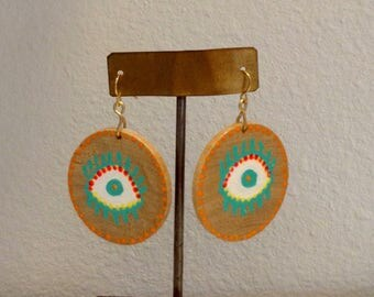Earrings, unique, lucky, hand painted