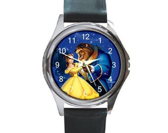 Personalized wristwatch leather watch Customize your own image or text Unisex Watch gift personalized Beauty and the beast wristwatch