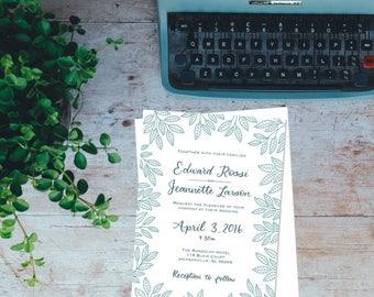 Wedding Invitation - Wedding Stationery - Handlettered invitation - Custom invitation