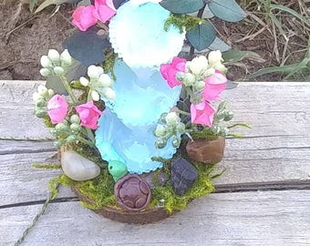 Miniature waterfall with turtle and flowers, handmade, miniatures, garden, fairy garden, gnome garden