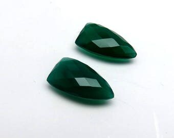 18Cts 20X11X6mm Green Chalcedony Loose Gemstone Faceted Shield Shape Checkerboard Briolite Cut - Top Quality Jewellery Gemstone Pair RG-025